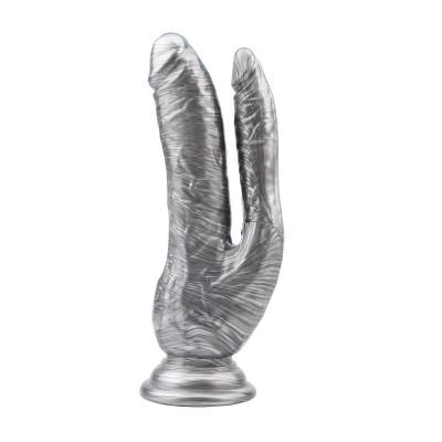 Серебристый анально-вагинальный фаллоимитатор Ivana Havesex - 19,5 см.